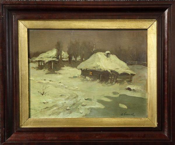1065: Krisochenko, Landscape with Cottage, O/Cardboard