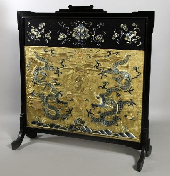 1067: 19th C. Chinese Embroidered Screen