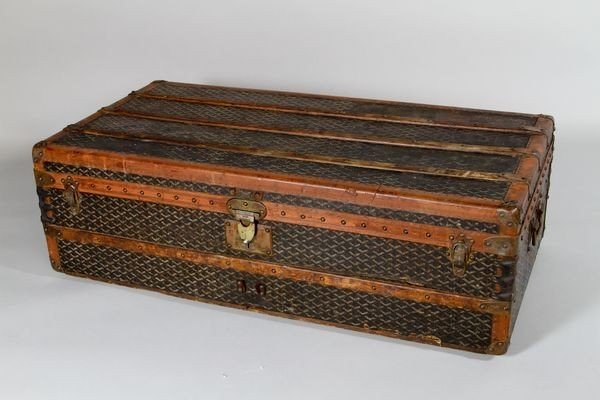 1103: Antique Labeled French Trunk