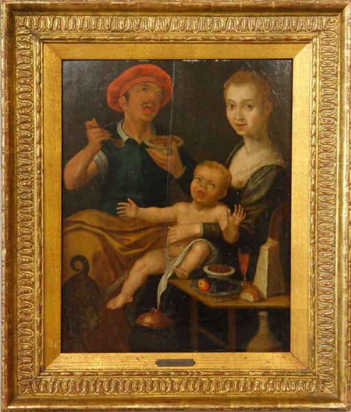 1116: 16th C. Flemish School, 'The Repast', O/B