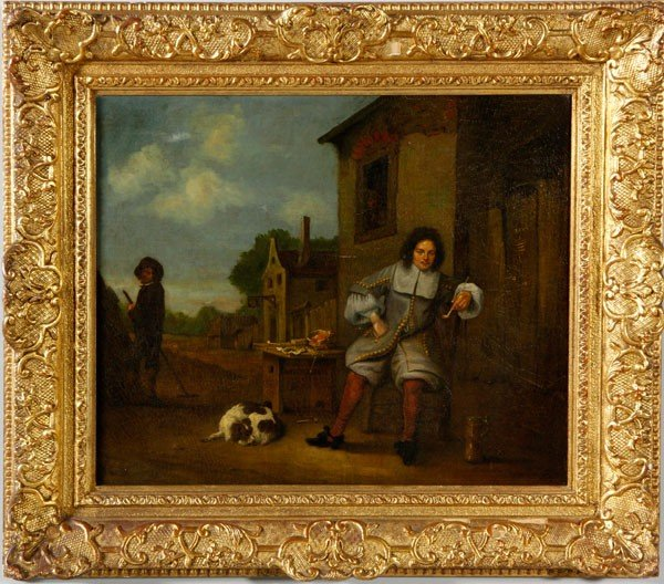 1117: 18th/19th C. Man with Dog, O/C