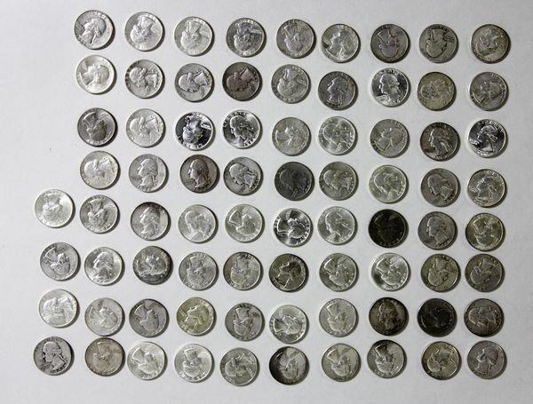 1150: Lot of 76 Washington Quarters
