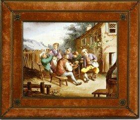 19th C. German, Tavern Scene, Painting On Porcela