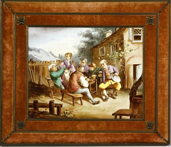 1156: 19th C. German, Tavern Scene, Painting on Porcela