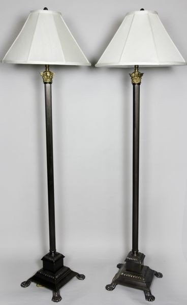 1175: Pair of English Style Floor Lamps