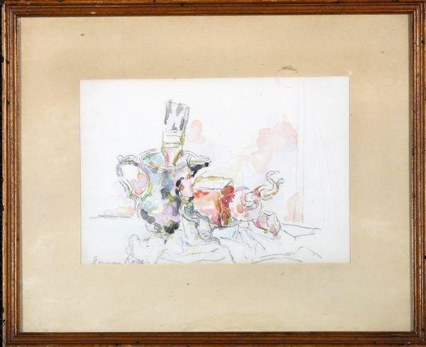 1182: Rose, Still Life, Watercolor