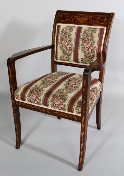 1188: Antique Dutch Marquetry Arm Chair