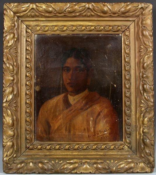 1057: Early 20th C. Pershad O/C Portrait of Maharasha