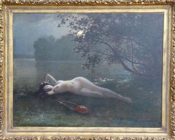 "1098: Brunet, ""Moonlight View of a Sleeping Nymph…,"" O/"