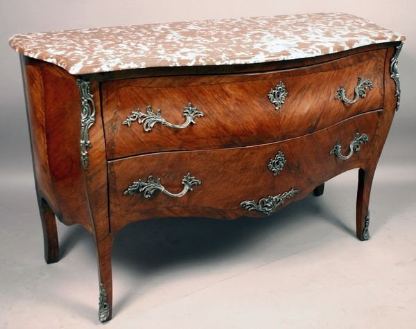 1099: 19th Century French Bombe Commode w/ Marble Top