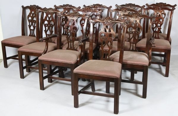 1100: Chippendale Mahogany Dining Chairs