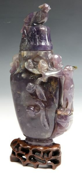 1107: 19th C. Chinese Carved Amethyst Bottle