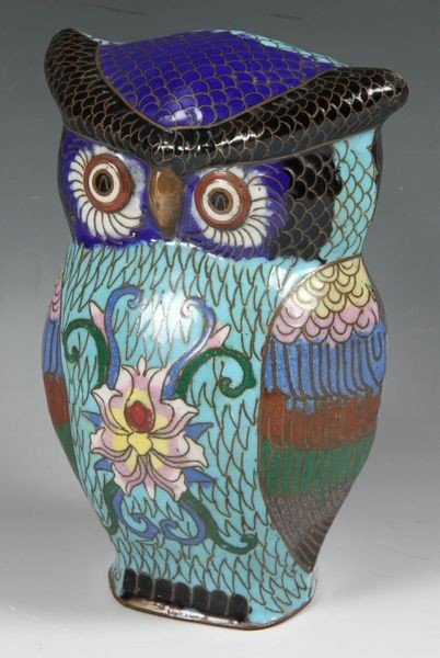 1162: 19th C. Chinese Cloisonné Owl