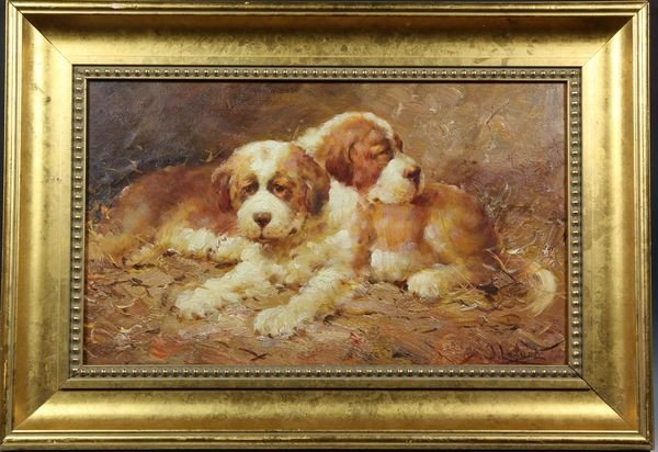 1184A: Painting of Puppies, O/B