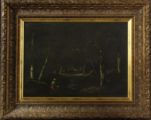 2019: 19th C., de la Pena, Interior Wood Scene, O/C