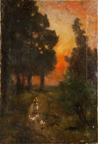 2030: Richet, Woman with Ducks at Sunset, O/C