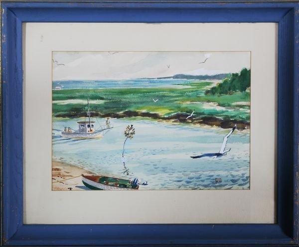 2041: White, Boating Scene, W/C
