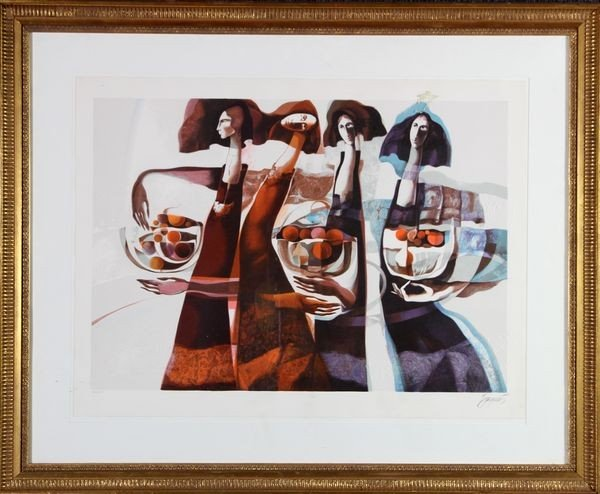 2058: Baques, 4 Women, Embossed Chromolithograph