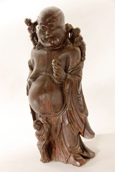 2070: Late 19th/ Early 20th C. Carved Wooden Buddha