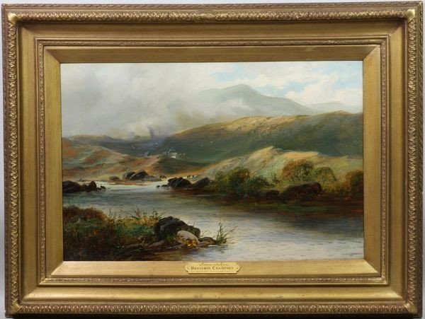 """2095: Champney, """"Landscape with River"""", O/C"""