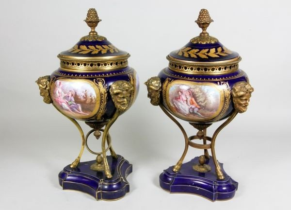 2104: Pair of Early 19th C. French Sevres Covered  Urns
