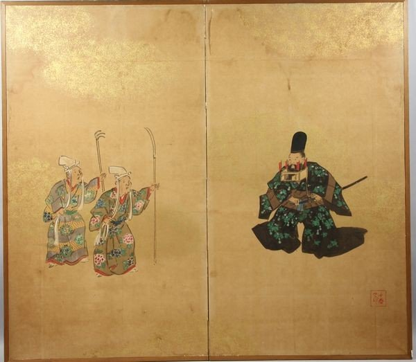 2012: Japanese 19th C. Watercolor Diptych