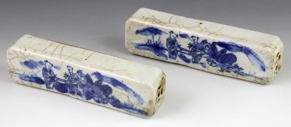 2032: 19th C. Chinese Pair of Porcelain Paperweights