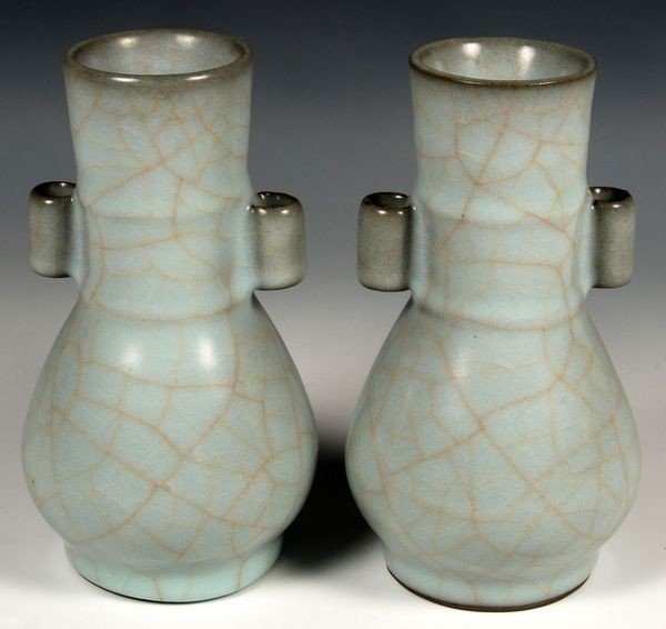 2113: Pair of 19th C. Chinese Celadon Vases