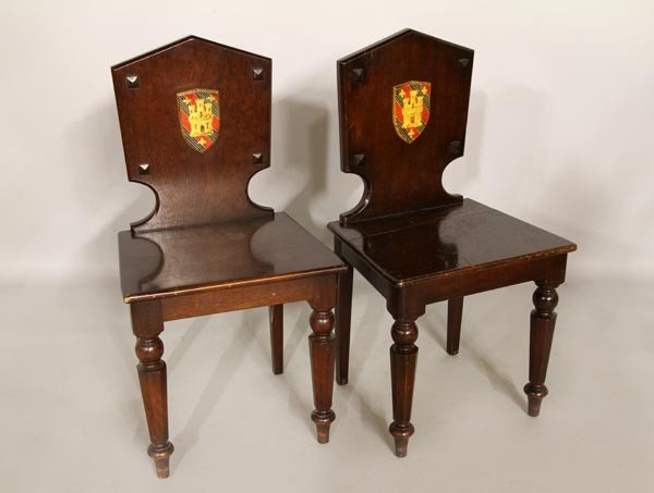 3004: Pair of Mahogany Library Chairs