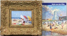 Niek Van Der Plas, Impressionist Beach Scene With