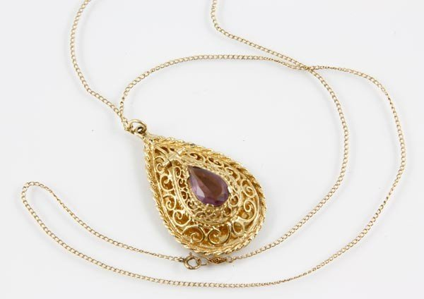 3028A: 14K Gold and Amethyst Pendant