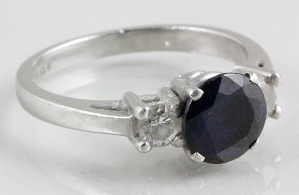 3030: Platinum, Diamond and Sapphire Ring
