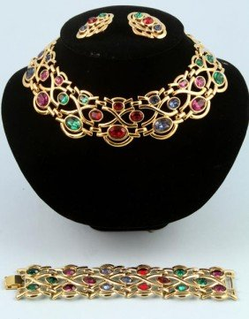 Napier Necklace, Bracelet And Earrings Suite