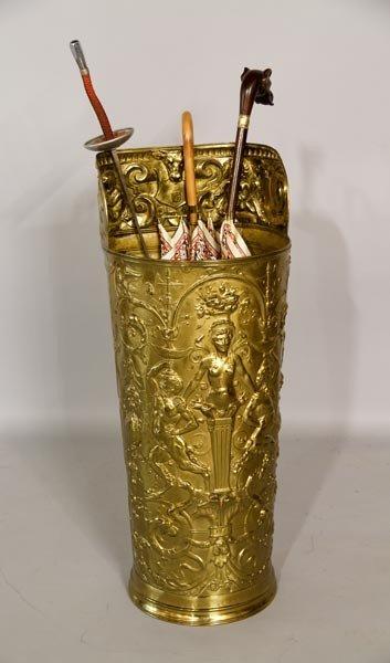 3033: Embossed Brass Umbrella Stand