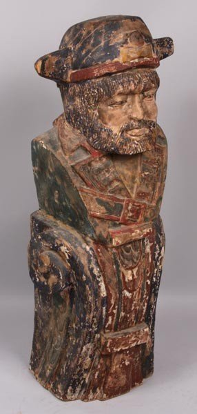 3051: 20th C. Carved Ship's Figurehead w/ Painted Detai