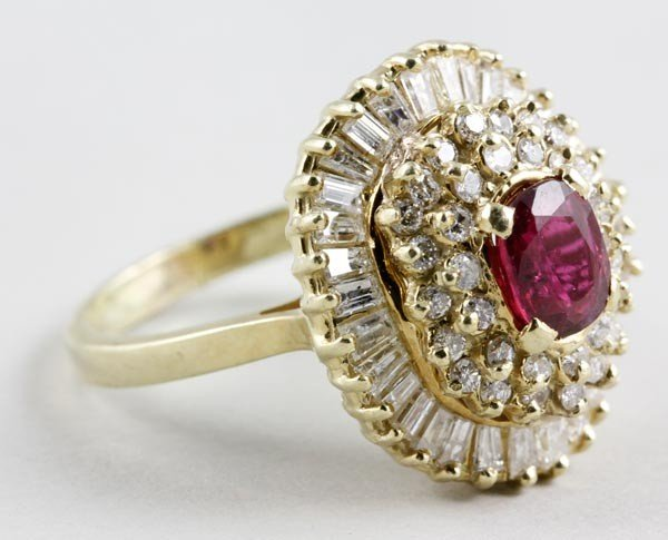 3055: 14K Gold, Ruby and Diamond Ring