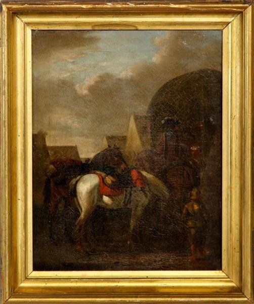 3057: 18th/19th C., Men and Horses, O/C