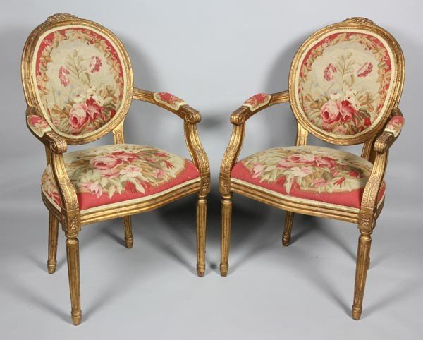 3058: Pair of Louis XV Style Armchairs