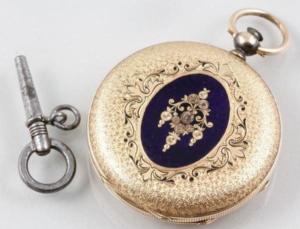 3059: Emile Jacot 14K Yellow Gold Pocket Watch