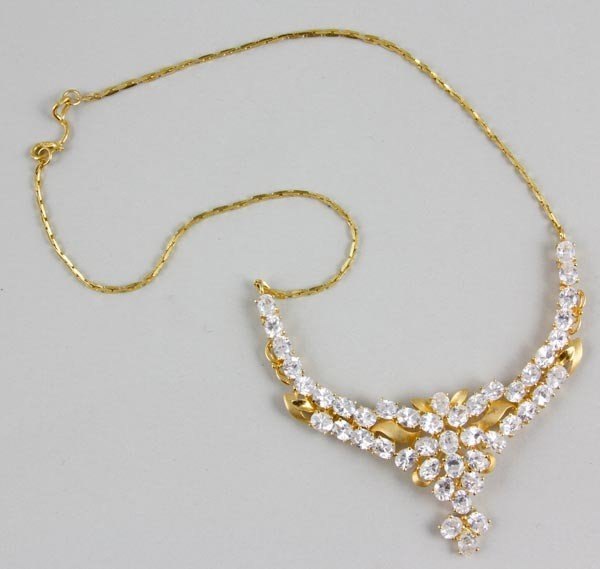 3063: 22K Yellow Gold and White Sapphire Necklace