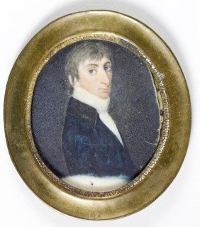 19th C. Portrait Miniature On Ivory
