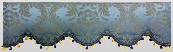4004: 2 Pairs of Blue Damask Fortuny Style Drapes - 2