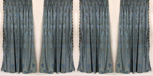4009: 2 Pairs of Blue Damask Fortuny Style Drapes