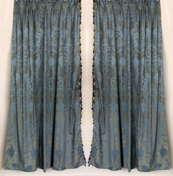4013: Pair of Blue Damask Fortuny Style Drapes