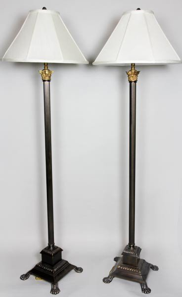 4065: Pair of English Style Floor Lamps