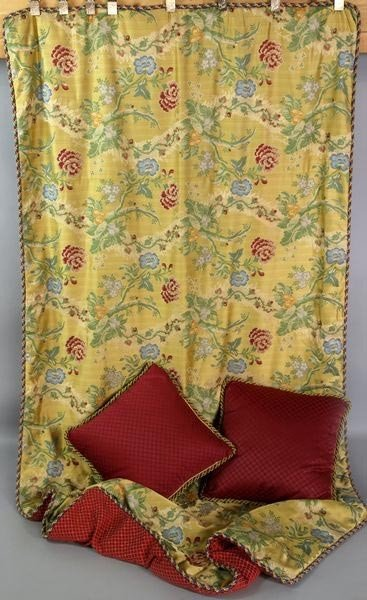 4155: English Gold and Silk Bed Puff and Down Pillows