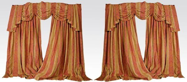 4165: 2 Pairs of Cinnamon Damask Drapes