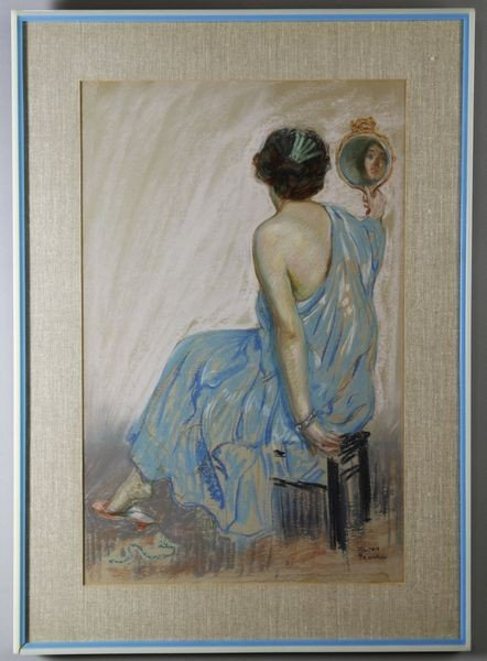 5019: Frankl, Woman with Mirror, Pastel