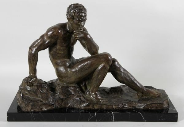 5022: Ouline Bronze of Seated Male Nude