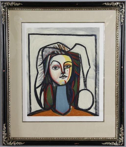 """5023: After Picasso, """"Portrait au cou bleu"""", Lithograph"""